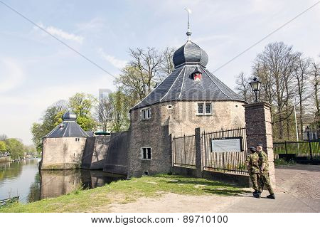 Two Soldiers In Front Of Military Academy In Breda