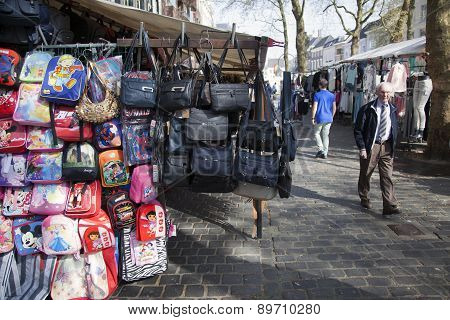 Bags Hang From Market Stall In The Dutch City Of Breda