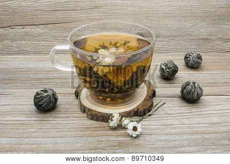 Jasmine Tea On A Wooden Background