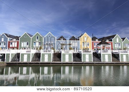 Floating Wooden Houses In The Neighbourhood Rietveld In The Dutch Town Of Houten