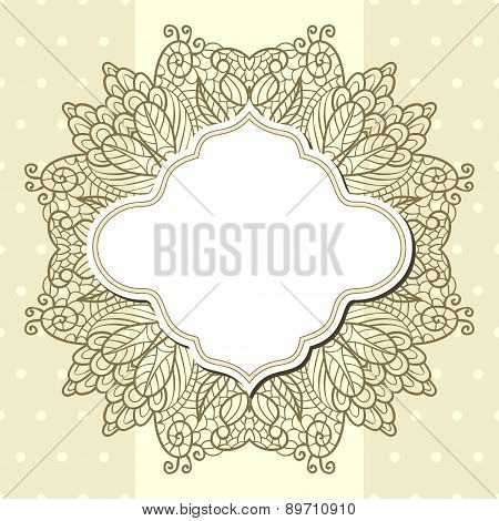 Retro Label With Lace Over Beige Background