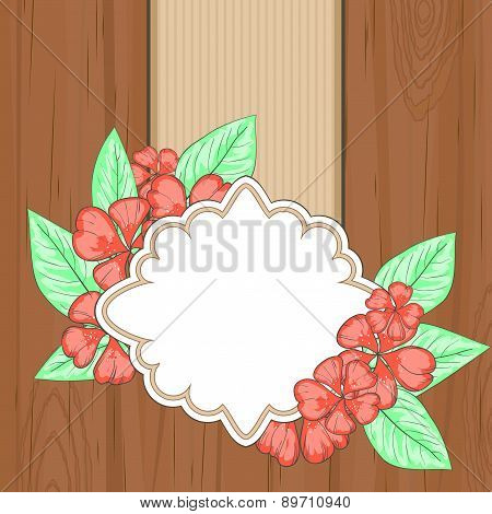 Retro Label Over Brown Wood With Red Flowers And Leaves