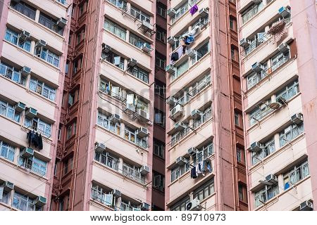 Apartment Building In Hong Kong. Abstract City Background.