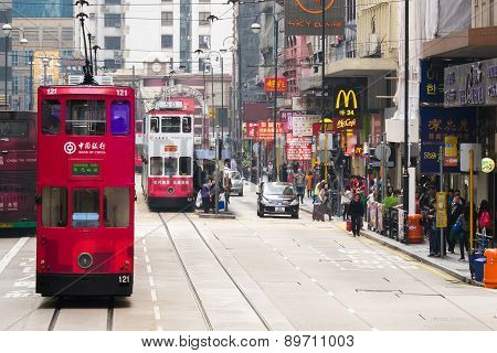 Hong Kong Cityscape View With Famous Trams At Wan Chai