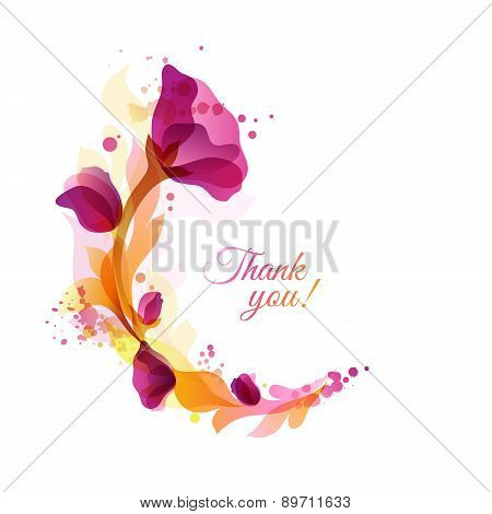 Greeting card with floral frame and splatters