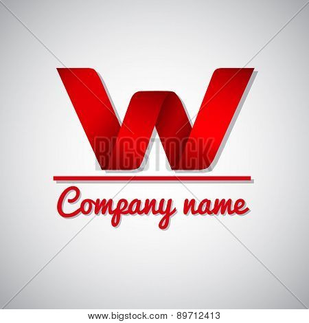 Icon of paper business logo letter w