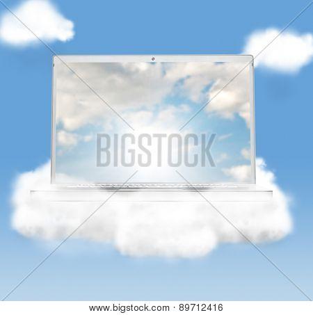 cloud technologies, modern laptop in skies