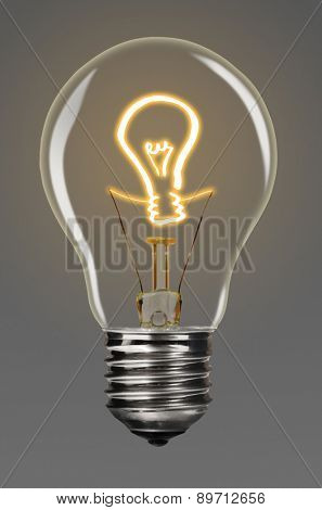bulb with glowing idea sign inside of it, financial creativity concept