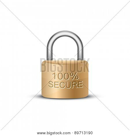 SSL certificate sign for website. Metallic padlock with caption 100 percent secure. Vector illustration
