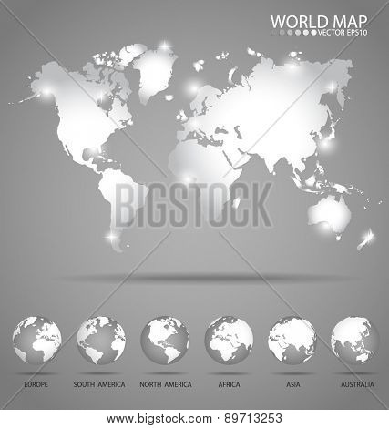 Modern globes and world map, vector illustration.