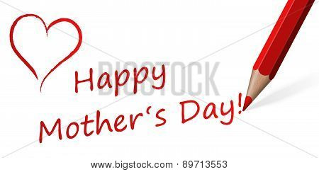 Red Pen With Text For Mother's Day