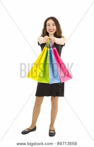 Shopping Woman Showing Shopping Bags