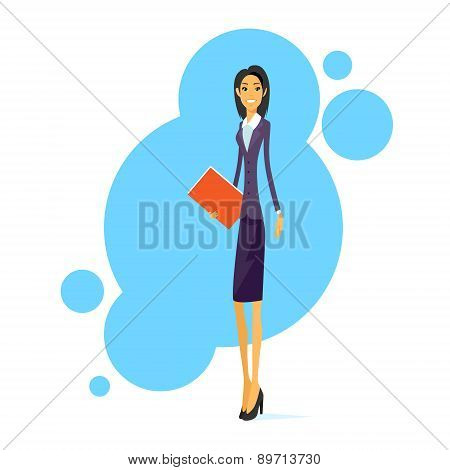 Businesswoman Smile, Standing Hold Folder Full Length Business Woman