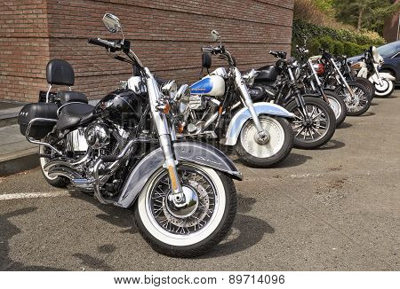 Harley Davidson Motorcycles Lined Up