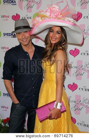 LOS ANGELES - MAY 2:  Troy Jensen, Courtney Sixx at the Annual Derby Ladies Luncheon at the Private Location on May 2, 2015 in Westlake Village, CA