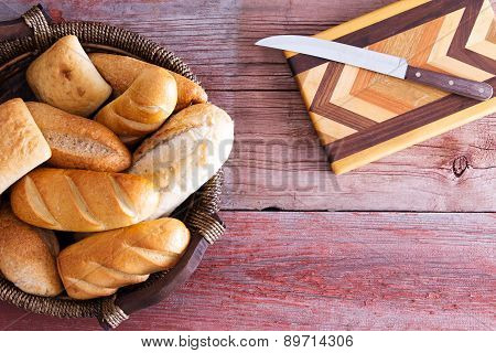 Assorted Fresh Rolls Ready To Be Served For Dinner