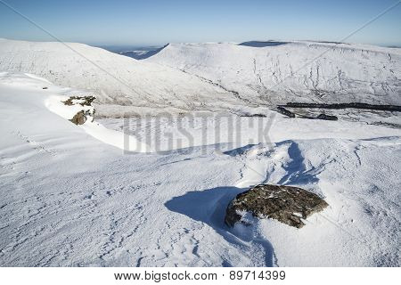 Stunning Landscape Views From Top Of Snow Covered Mountains In Winter