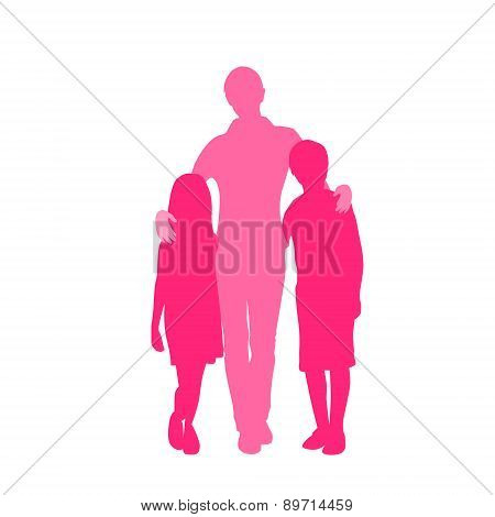Family Silhouette Mother with Two Kids Holding Hands
