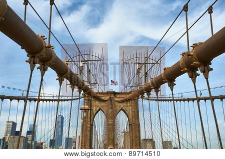 Brooklyn bridge pillar, New York City, USA