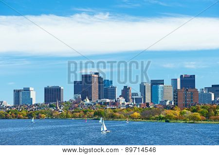 Boston and Charles river view from Harvard Bridge at Massachusetts, USA