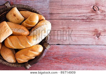 Bread Basket Filled With Fresh Rolls
