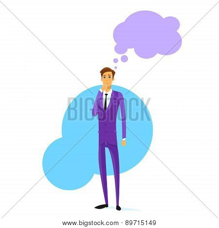 Businessman Think Hold Hand on Chin Cloud Head