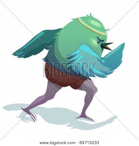 Vector Illustration Of Sparrow. Runner.