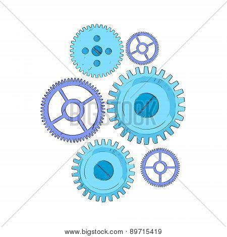 Cog Wheel Set Blue Mechanical Detail Part Sketch