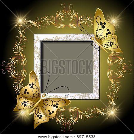 Grungy Photo Frame, Butterflies And Golden Ornament