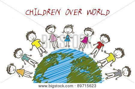 Chindren Over Planet Drawing Style Vector Illustration