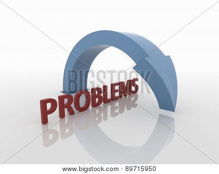 Curved Blue Arrow Symbol Over Problems, Solution Concept