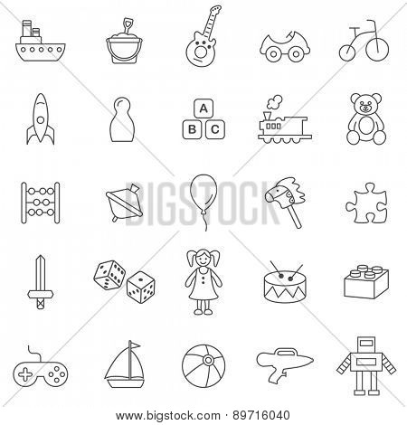 Toys line icons set.Vector.