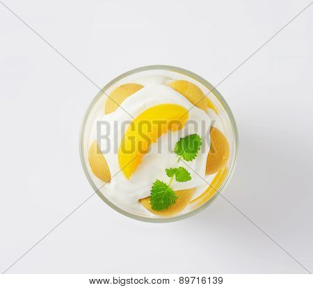 overhead view of yogurt with apricots