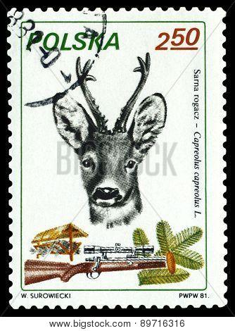 Vintage  Postage Stamp. Roe Deer.