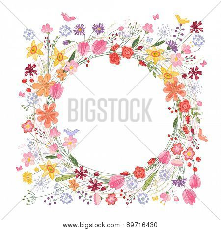 Vintage round frame with contour field flowers isolated on white