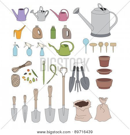 Gardening tools for plants growing on window sills and balcony isolated on white