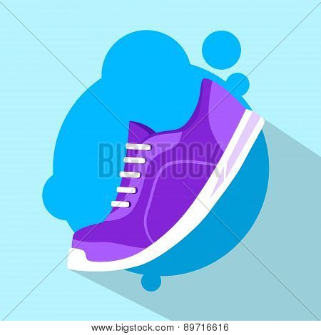 Sneaker Sport Running Shoe Flat Icon Vector
