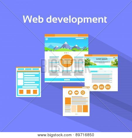 Web Development Site Page Flat Violet Vector
