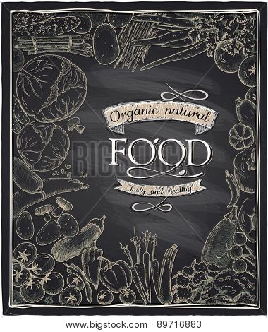 Organic natural food chalkboard design with assorted hand drawn vegetables.