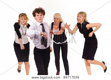 Competition of business team, isolated on white