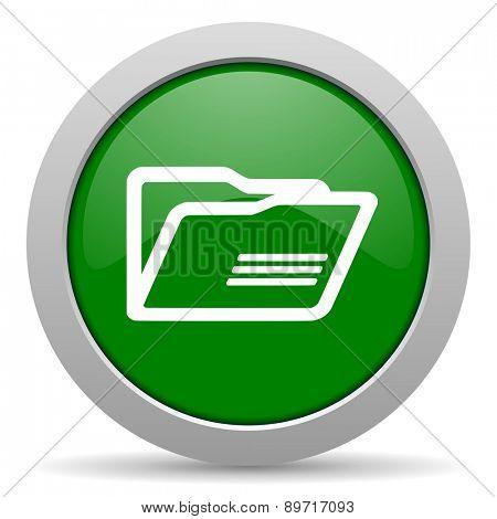 folder green glossy web icon
