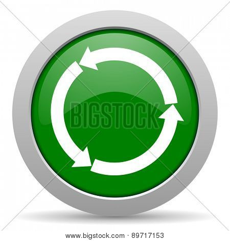 refresh green glossy web icon