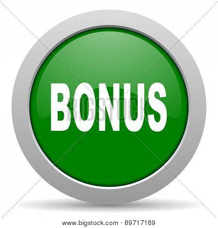 bonus green glossy web icon