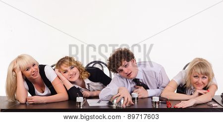 boring business team sit together at office, isolated on white