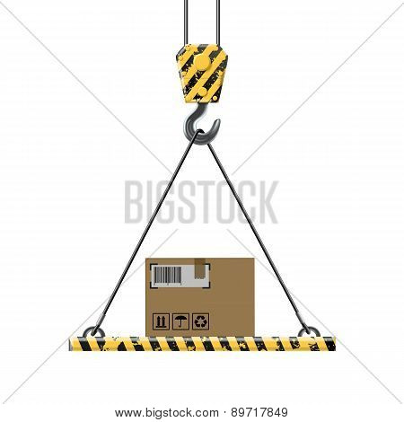 Crane Lifts A Box With Cargo