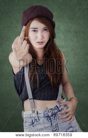 Teenage Girl Girl Showing Middle Finge