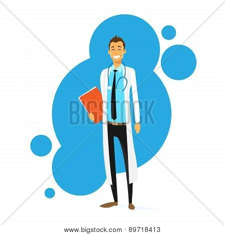 Doctor Cartoon Smile Man Icon Flat Vector