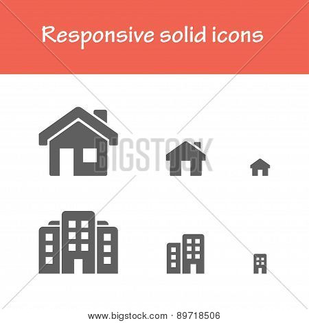 Responsive Solid House Icons