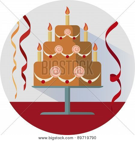 Birthday Cake Vector Illustration In Circle