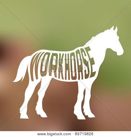 Concept of horse silhouette with text inside on farm background